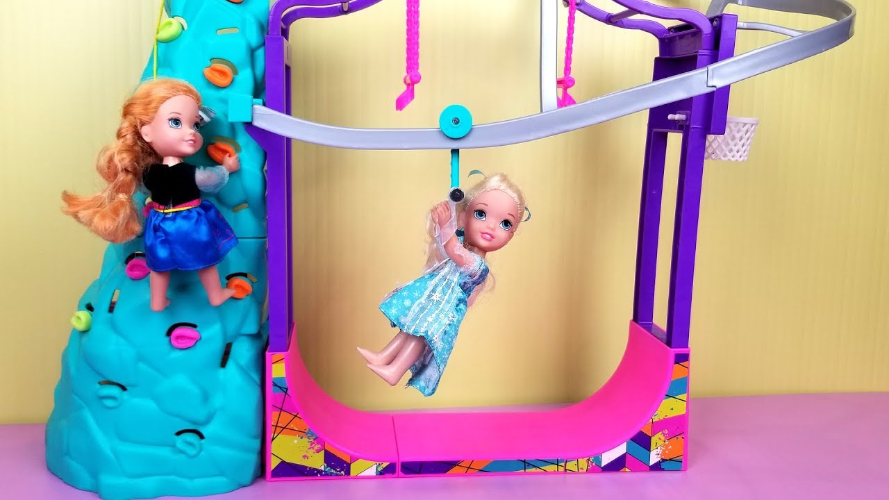 Download Indoor Play Place ! Elsa and Anna toddlers - zip line - foam pit - Barbie - playdate