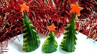 ЕЛОЧКА ИЗ ОГУРЦА!  Украшения из овощей. Как красиво нарезать овощи.  Decoration of vegetables
