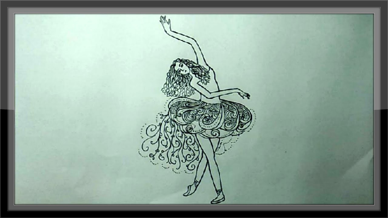 Simple pencil drawing a beautiful dancing girl picture ➤easy