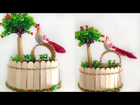 showpiece-making-at-home-||-decorative-for-home-decor-||-ice-cream-stick-crafts-||-diy-crafts