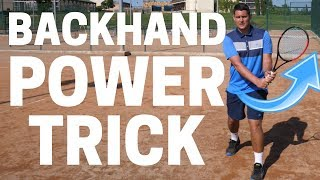Simple Tennis Backhand Power Trick - Two Handed Backhand Tennis Lesson thumbnail
