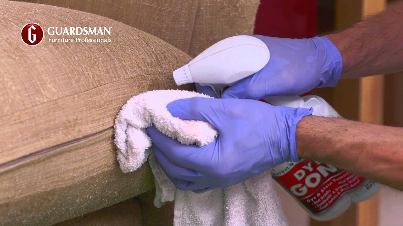 How we remove a red wine stain on a fabric sofa Guardsman In