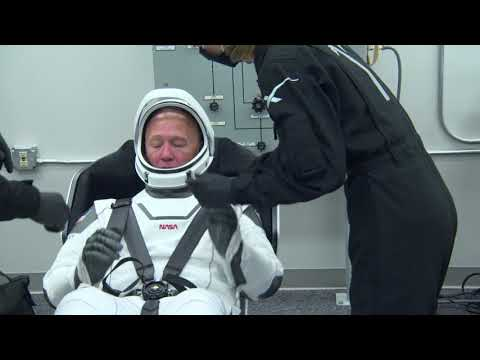 Demo-2 Crew Members Suit Up for Flight to International Space Station