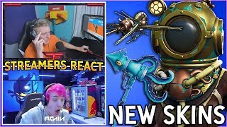 STREAMERS REACT TO *NEW* DEEP SEA DESTROYER & DOMINATOR SKINS! + SQUID STRIKER PICKAXE! Fortnite BR
