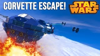 Space Engineers - STAR WARS CORVETTE ESCAPE!