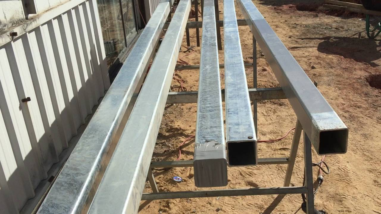 How To Set Steel Posts In Concrete Youtube