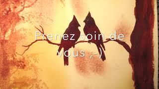 """Démo Aquarelle de Jacques le peintre artiste """"Le couple d'oiseaux"""""""