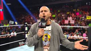 While addressing the WWE Universe, CM Punk walks away: Raw, April 15, 2013