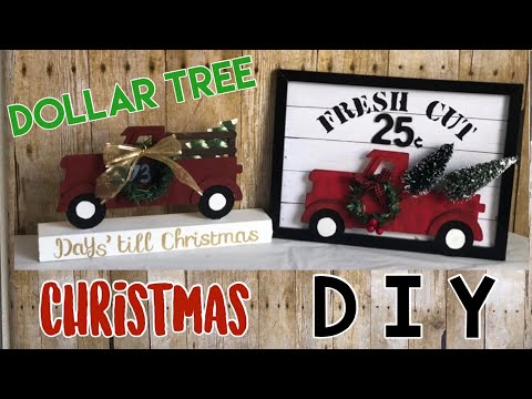 DOLLAR TREE DIY | Farmhouse |Christmas Red Truck