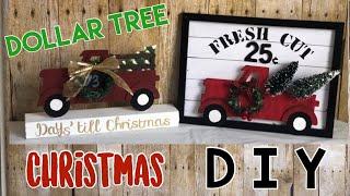 DOLLAR TREE DIY | Farmhouse |Christmas Red Truck