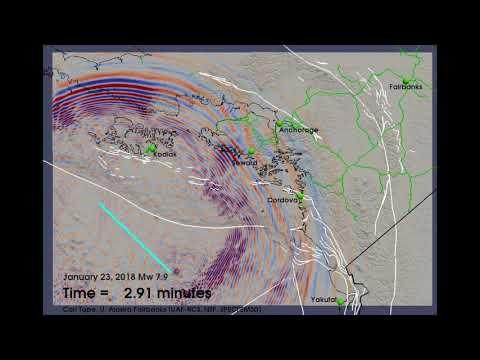 Magnitude 7.9 offshore Kodiak, Alaska earthquake on January 23, 2018 (computer simulation)