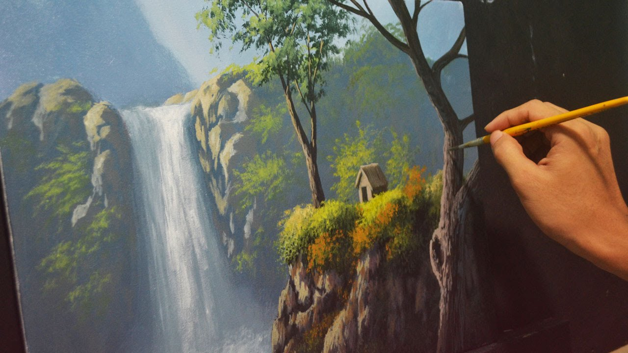 Acrylic Landscape Painting Lesson House Beside The Waterfalls By Jmlisondra You