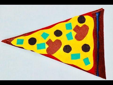 DIY school supplies. Easy fun kids craft. Felt pizza pencil case (no sew option)