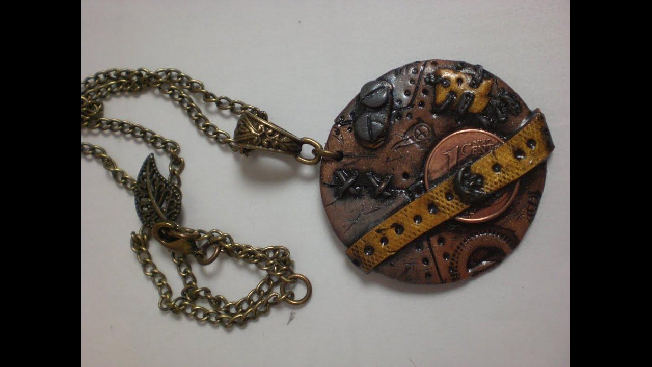 Bien-aimé tuto collier pendentif steampunk en fimo - YouTube JZ95