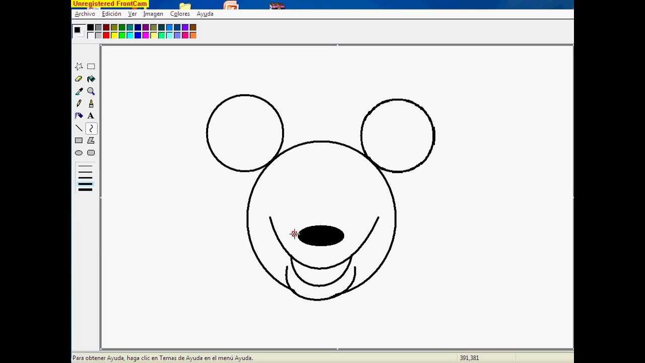 Como Dibujar A Mickey Mouse Utilizando Paint . - YouTube