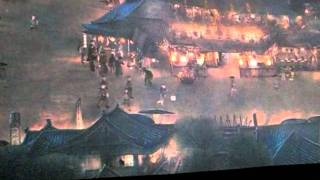 北宋時代の人々の生活を描いた「清明上河図」のアニメ版を台北で見学