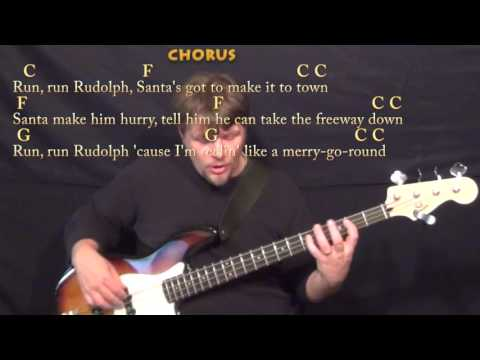 Run, Run, Rudolph (Chuck Berry) Bass Guitar Cover Lesson with Chords/Lyrics