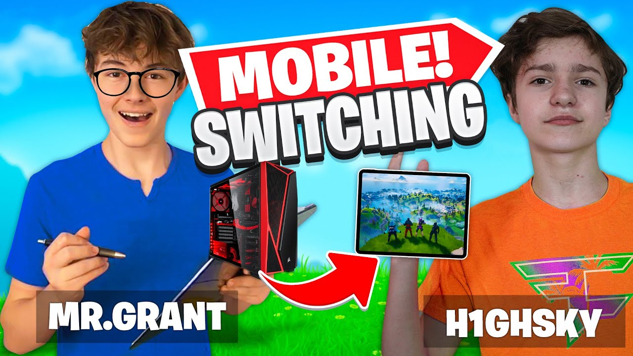 Switching to MOBILE for 24 Hours! GRANT Teaching FAZE H1ghsky1 MOBILE Fortnite! *Hard*