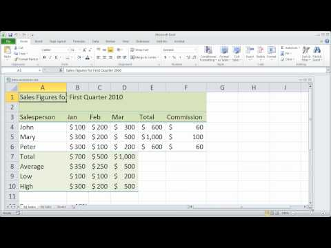 Part 9 - Fundamentals of Excel 2010