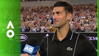 Novak Djokovic practises Aussie accent in on court interview | Australian Open 2018