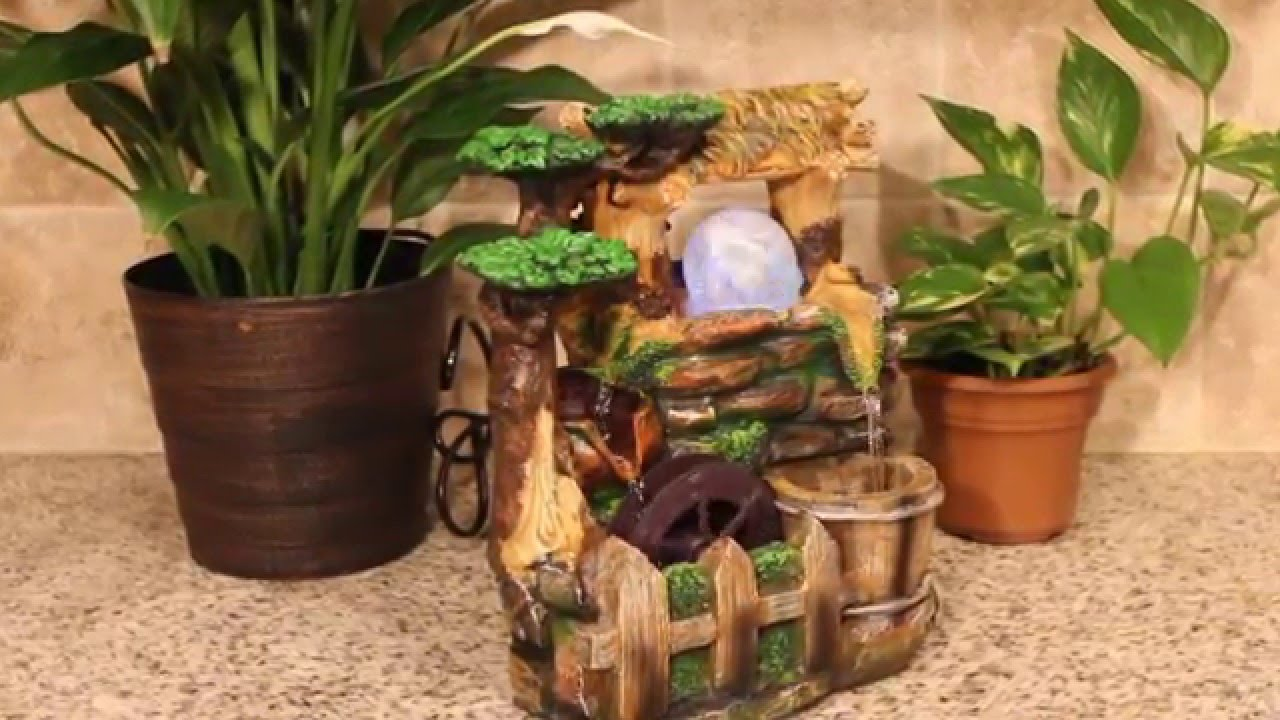 Tree With Wood Roof And Spinning Wheel Color Led Tabletop