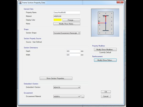ETABS-Define Frame Section Properties - YouTube