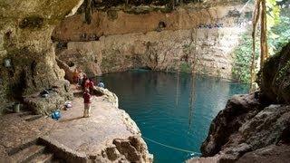 CAVE CLIFF DIVING IN MEXICO !!! @ Cenote Zaci