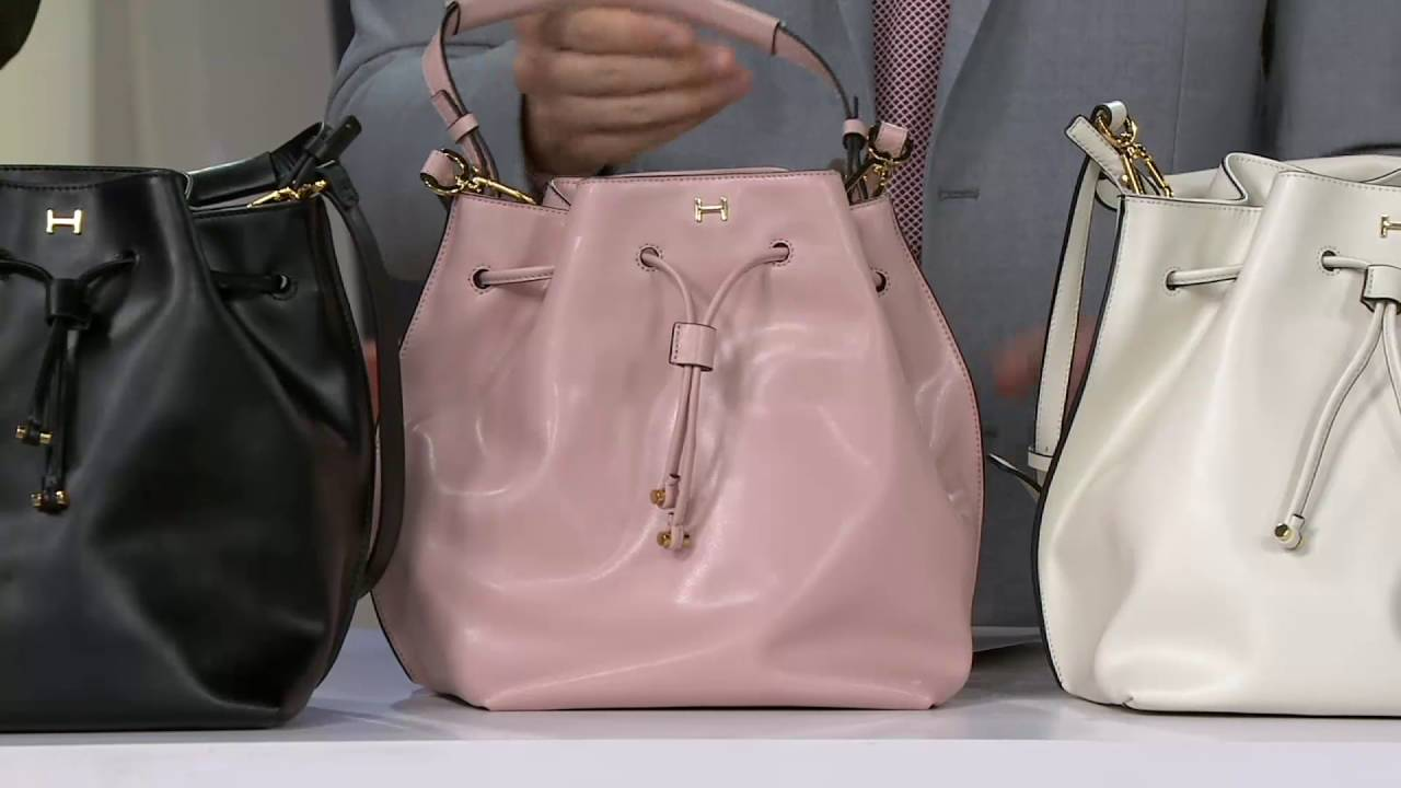 H by Halston Smooth Leather Drawstring Bucket Handbag on QVC - YouTube 2dfe250395861