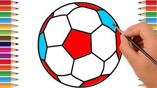 Soccer Ball Coloring Pages and Drawing - Art Colors for Kids | Learn Colors Drawing Soccer Ball