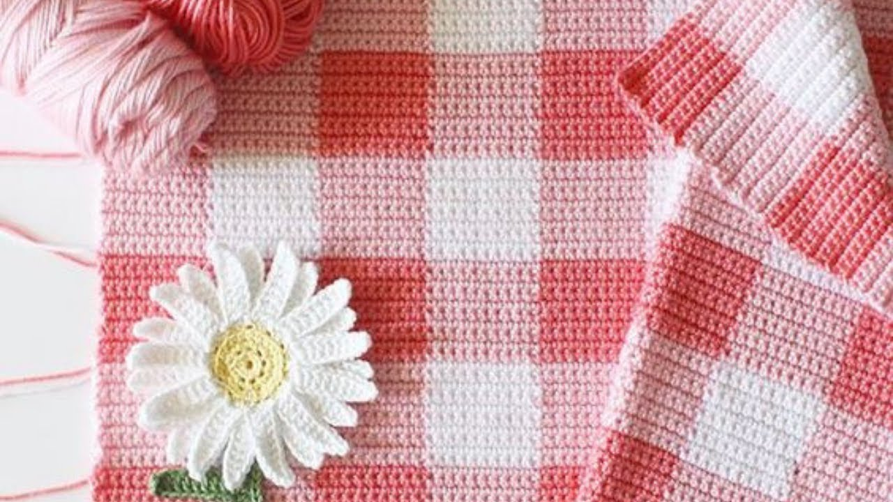 How To Start And Change Colors In A Crochet Gingham Blanket Youtube Dinah Daisy Dish Cloth Farm Crafts