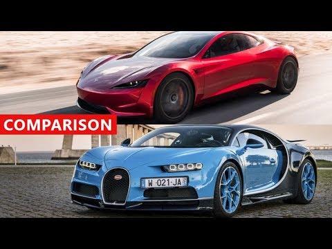 tesla roadster vs bugatti chiron comparison - electric cars ftw