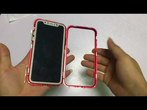 f521b4c34a6 Magnetic Adsorption Tech Metal Bumper Frame Case Cover + 9H Tempered Glass  For iPhone X 8 7 Plus - YouTube