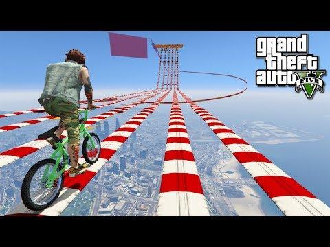 แข่งจักรยานบ่นด่าน สุดเสียว-GTA V(Funny Racemap)