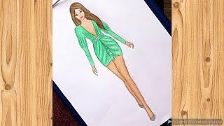 Yeşil mini elbise çizimi / Çok kolay çizim videosu 💚