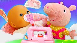 Vidéo en français de bébé born Annabelle et Peppa. Comment réussir toutes les affaires?