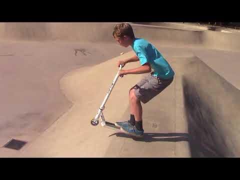 Scottybird Scootering My First Grind Visalia Skatepark May 2018