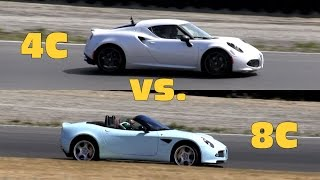 alfa romeo 4c vs 8c spider on track