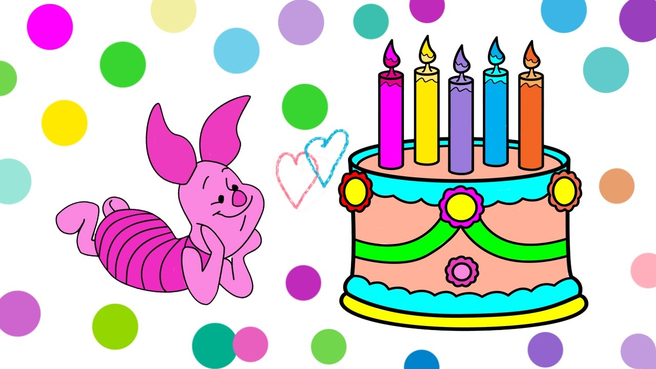 Happy Birthday Cake Coloring Book Pages For Kids Birthday Piglet