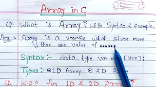 Array in C language | what is array explain with syntax and example program in c