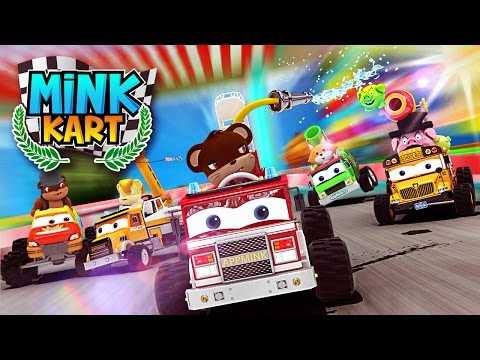 Thumbnail: Monster Truck School Bus Fire Truck Construction Toy Truck Cars Race go Kart Racing Kids Animation
