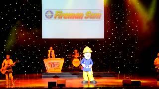 """Fireman Sam performing """"Fireman Sam Says""""."""