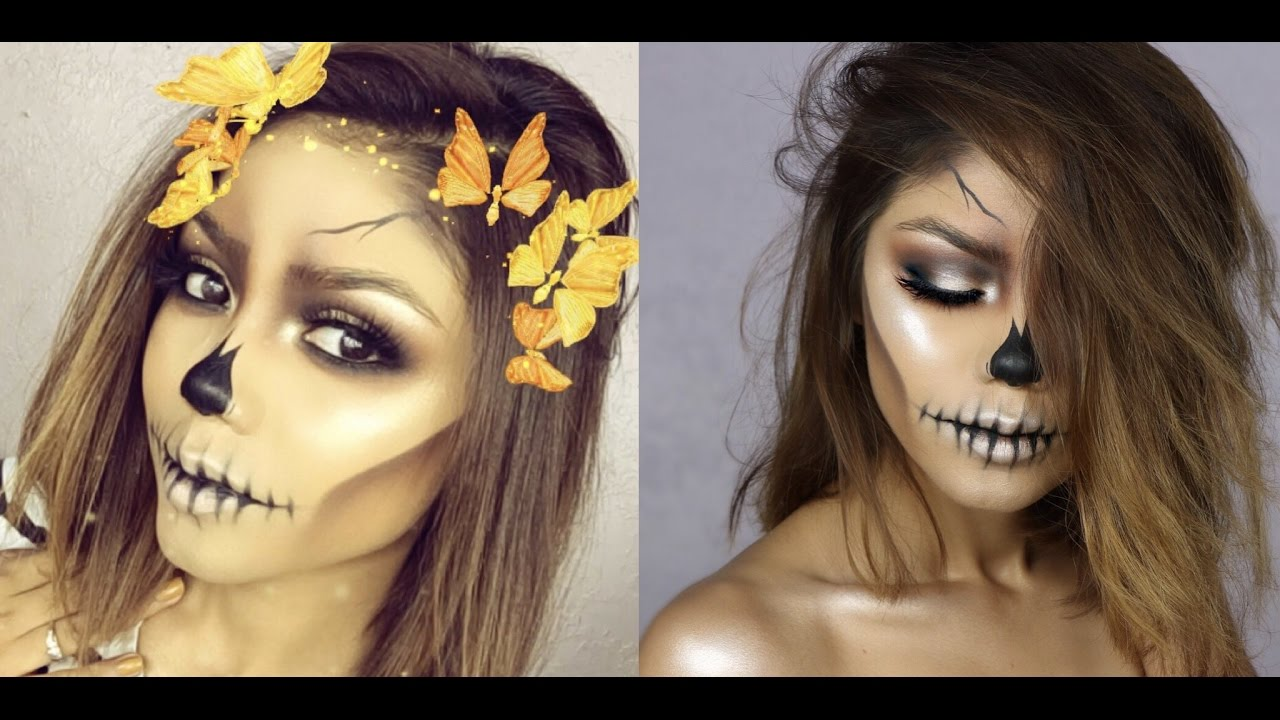 EASY SKULL | HALLOWEEN 2016 | USING ONLY MAKEUP - YouTube