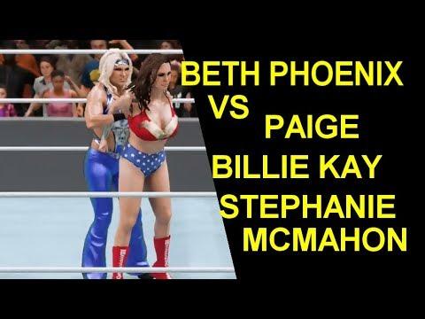 WWE 2K18 Beth Phoenix vs Paige, Billie Kay, & Stephanie McMahon
