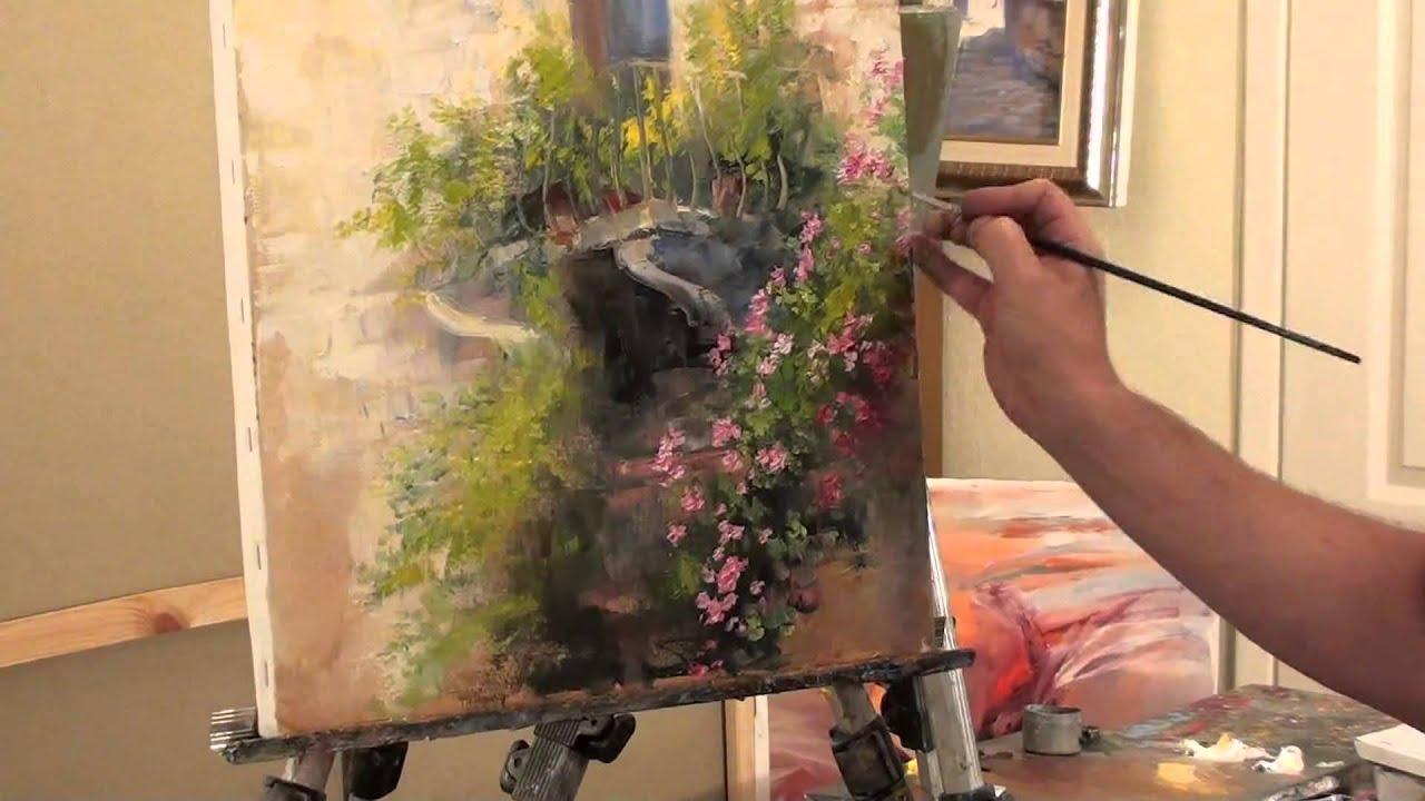 New Oil Painting Bob Ross Sakharov wrote Balcony flowers