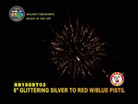 """1.3G FIREWORKS: 6"""" GLITTERING SILVER TO RED WITH BLUE PISTIL"""