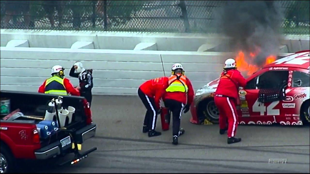 Kyle Larson Hard Crash Fire Michigan 2014 HD