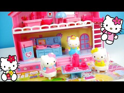 Hello Kitty 凱蒂貓 好朋友的家遊戲組 咪咪和瑪麗媽媽 在可愛的家 用餐下午茶 學注音ㄅㄆㄇ 玩具開箱