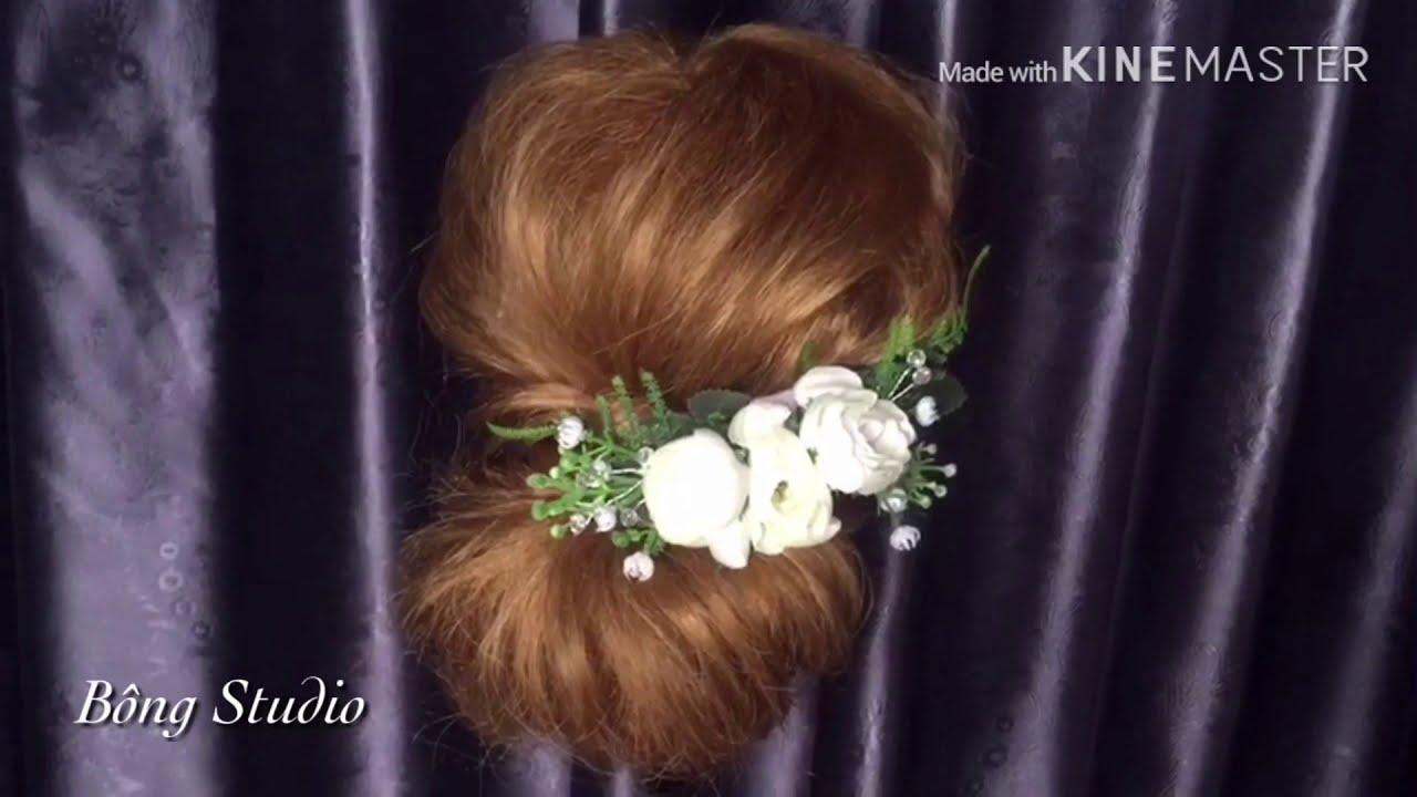 Hướng dẫn bới tóc cô dâu ( tóc dành cho dự tiệc cưới 12) Bông Studio | Tổng hợp kiến thức về tóc đẹp mới nhất