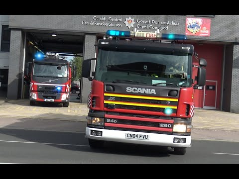 Cardiff Central Fire Station Double Turnout + Police, Fire & Emergency Vehicles Responding In Wales