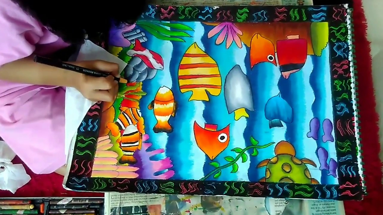 Coloring Fish With Crayons